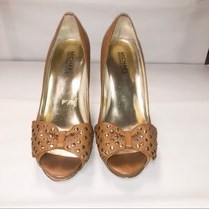 Michael Kors Cognac Leather Peep Toe Heels W/ Bow